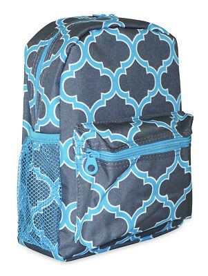 Moroccan Geometric Girls Mini Toddler Backpack Bag For Preschool Teal Blue