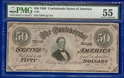 T-66 1864 $50 Confederate States Banknote PMG 55 About Uncirculated
