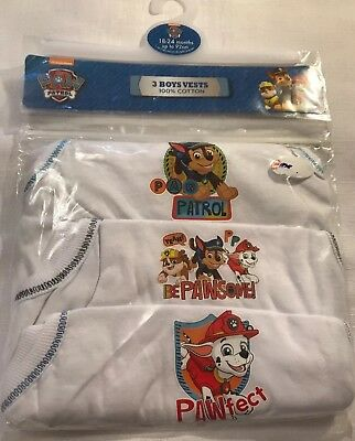 Paw Patrol Pack Of 3 Vests 18-24 Months New