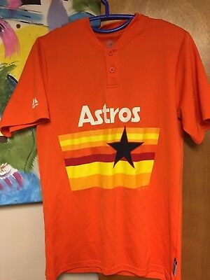 Majestic Houston Astros Retro Throwback Orange Rainbow Pullover Jersey  Small  4 cb856d90e