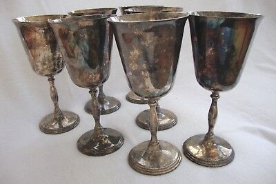 A SET OF SEVEN VINTAGE SILVER PLATED EPBM WINE GOBLETS ON SINGLE STEM 18 cm