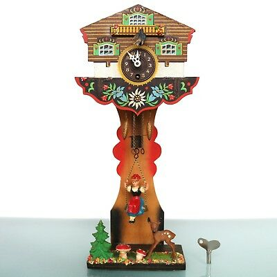 GERMAN Black Forest Mantel Wall CLOCK DOUBLE ANIMATED!! SWINGING SWING Vintage