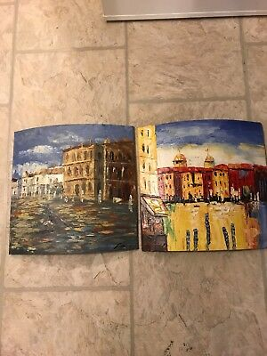 original art works signed unknown artist rare vintage oil on canvas abstract 3D