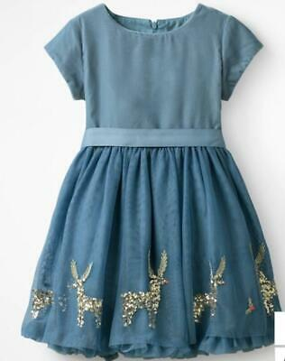 7071512eda41 Mini Boden Girl's Velvet Reindeer Appliqué Holiday (Christmas) Dress Blue