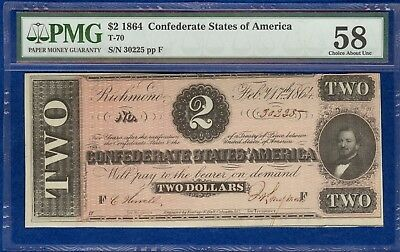 T-70 1864 $2 Confederate States Banknote PMG 58 Choice About Uncirculated
