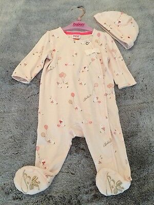 16a4f4fb32c2 TED BAKER PINK 3-6 Months Babygrow Sleepsuit Used With Bow - £2.50 ...