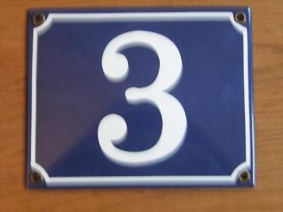 Large Good Quality Number 3 Blue Enamel French Antique Style Door Number Plate