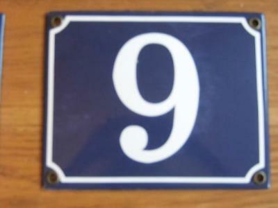 Large Good Quality Number 9 Blue Enamel French Antique Style Door Number Plate