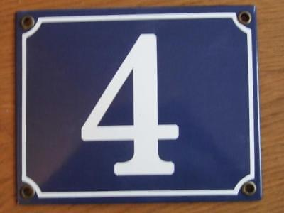 Large Good Quality Number 4 Blue Enamel French Antique Style Door Number Plate