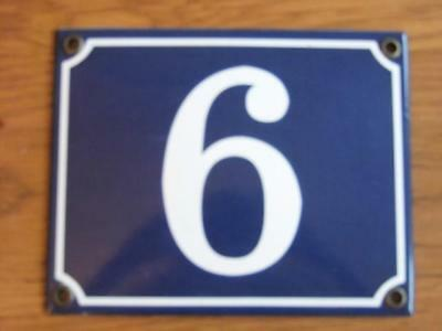 Large Good Quality Number 6 Blue Enamel French Antique Style Door Number Plate