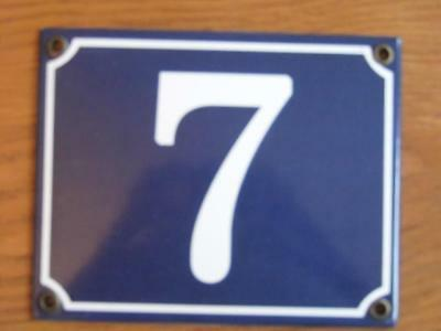 Large Good Quality Number 7 Blue Enamel French Antique Style Door Number Plate