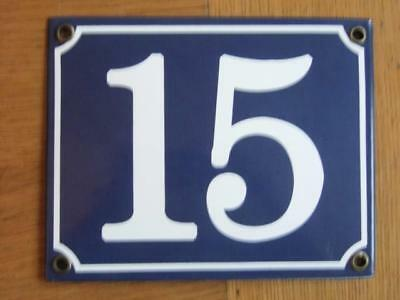 Large Good Quality Number 15 Blue Enamel French Antique Style Door Number Plate