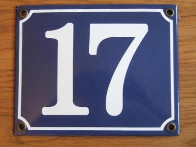 Large Good Quality Number 17 Blue Enamel French Antique Style Door Number Plate