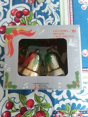 Vintage Christmas Electronic Musical 2 Bell Cluster 3 Songs