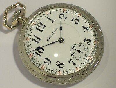 RARE ANTIQUE 229 SOUTH BEND 21 J The STUDEBAKER POCKET WATCH RAILROAD 14k gold f