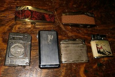 LOT OF 6 ASSORTED VINTAGE LIGHTERS, Pin Up, Buffalo Nickle & more !
