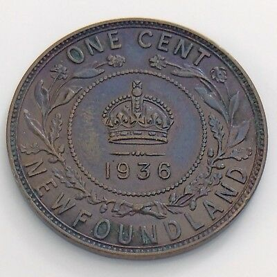 1936 Canada Newfoundland One 1 Cent Large Penny Circulated Canadian Coin H940