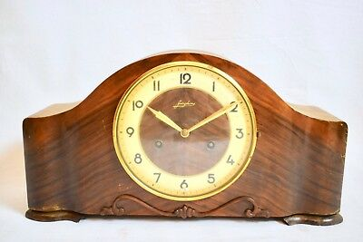 VINTAGE 1930s JUNGHANS TING TANG CHIME OAK CASED MANTEL CLOCK