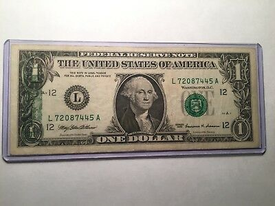 1999 $1 Us Note - Error Back To Front Printing - Nice Note  - See Photos!!