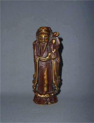 Antique China TOP VERY HIGH AGED MING DYNASTY LACQUERED BRONZE SAINT FIGURE
