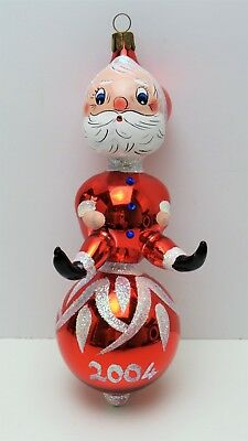 ESTATE Vtg 2004 WATERFORD Heirloom Hand BLOWN Glass SANTA Christmas ORNAMENT