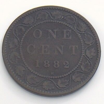 1882 H Canada 1 One Large Cent Penny Circulated Canadian Copper Coin H944