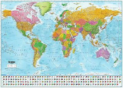World Map with flags XXL Poster 2018 - MAPS IN MINUTES® 140 x 100 cm