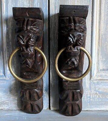 Pair Antique Flemish Carved Oak Lions with Brass Rings: Furniture Embellishments