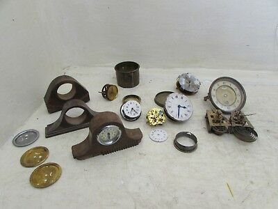 Job Lot / Collection Of Small / Miniature Antique Mantel Clock Movements & Cases