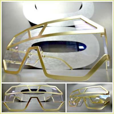 4882911d1af Men s Women Vintage Retro Luxury Shield Style Clear EYE GLASSES Matte Gold  Frame