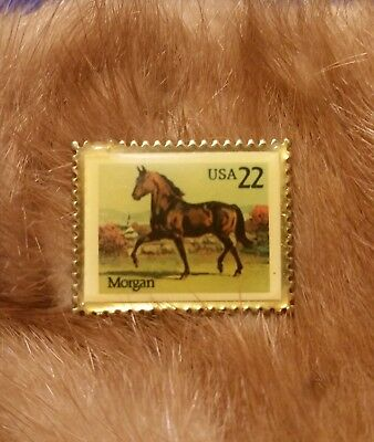 1985 Usps 22 Cent Morgan Horse Colorful Pin Back Us Post Office Made In The Usa