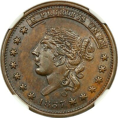 Ngc Ms62 Bn 1837 Centre Market New York Hard Times Token Ht-240 Rotated Reverse