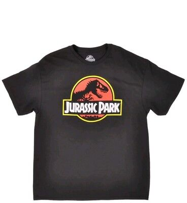 Jurassic Park Logo T-Shirt Mens Medium Dinosaur Movie Tee Distressed Black