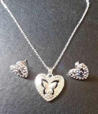 Wholesale 925 Sterling Silver Necklace, Heart Pendant & Earring Free Giftbox.