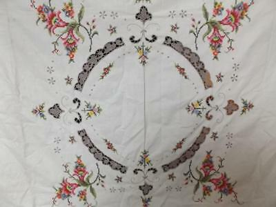 vintage hand made TABLE CLOTH + 6 NAPKINS EMBROIDERY CROCHET FLORAL DESIGN