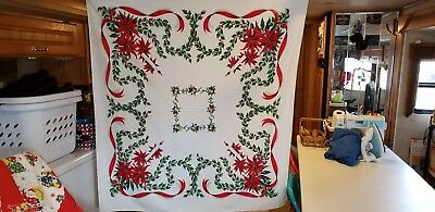 Vintage Christmas tablecloth Candles Holly Ornaments1950's FREE SHIPPING
