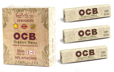 1x Pack OCB Organic King Size Slim With Tips - 32 Papers Each Pack Roll Paper