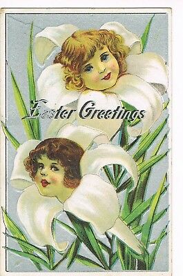ANTIQUE EMBOSSED EASTER Postcard  CENTERS OF EASTER LILIES ARE FACES OF CHILDREN