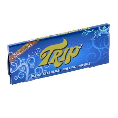 12x Packs Trip 2 King Size ( 50 Papers Each Pack ) Clear Cellulose Rolling Paper
