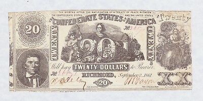 Civil War Confederate States of America Twenty Dollars Sept. 2nd, 1861