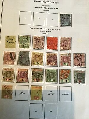 Malaya Straits Settlements KEVII 1904 part set Used