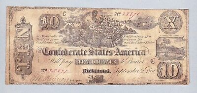 Rare 1861 Confederate States Of America $10  Note Slave Picking Cotton