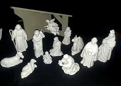 AVON NATIVITY SET 14 PC. WHITE PORCELAIN BISQUE-1981-88- Collectible Christmas