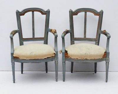 Antique Vintage Pair of French Louis XVI style Fauteuil Armchairs Blue Paint