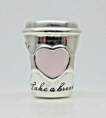 NEW Authentic Pandora Drink To Go Pink Coffee cup 797185EN160 Charm