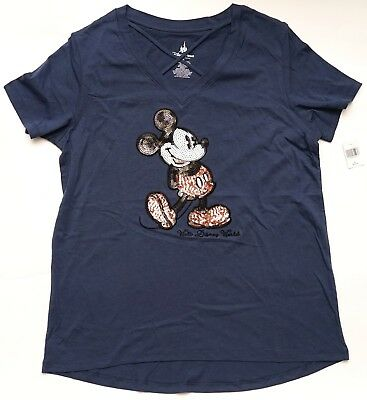 New Disney Parks Rose Gold Sequined Mickey Mouse Ladies T-shirt XS-3XL