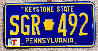 "Orange on Blue Pennsylvania ""Keystone State"" License Plate"