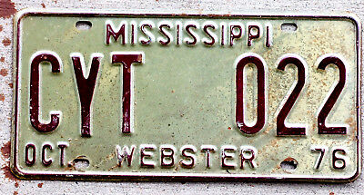 1976 Maroon on White Mississippi License Plate WEBSTER