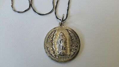 "Vintage Religious Sterling Silver Pendant Necklace 20"" Long"