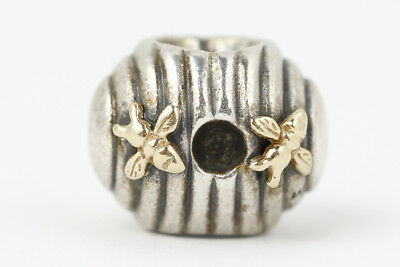 Pandora Sterling Silver & 14k Gold Bee Hive Charm #790577 Retired